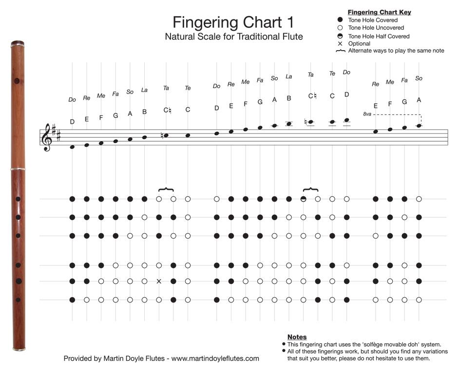 fingering chart simple keyless system flute